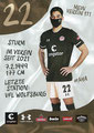 Omar Marmoush; Rückseite Autogrammkarte: Saison 2020/21 (2. Bundesliga) Variante 2: Rückseite: Schriftzug oben rechts: Mein Verein 111