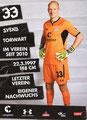 Svend Brodersen; Rückseite Autogrammkarte: Saison 2018/19 (2. Bundesliga)
