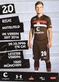 Richard Neudecker; Rückseite Autogrammkarte: Saison 2018/19 (2. Bundesliga)