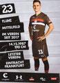 Johannes Flum; Rückseite Autogrammkarte: Saison 2018/19 (2. Bundesliga)
