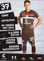 Finn Ole Becker; Rückseite Autogrammkarte: Saison 2018/19 (2. Bundesliga)