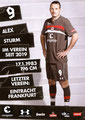 Alex Meier; Rückseite Autogrammkarte: Saison 2018/19 (2. Bundesliga)