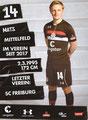 Mats Møller Dæhli; Rückseite Autogrammkarte: Saison 2018/19 (2. Bundesliga)