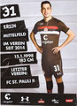 Ersin Zehir; Rückseite Autogrammkarte: Saison 2018/19 (2. Bundesliga)