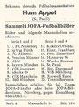 Rückseite eines Sammelbildes dieser Serie; Bekannte Deutsche Fußballmannschaften, Serie 3 + 4; Jopa, Eiskrem, Nürnberg