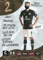 Sebastian Ohlsson; Rückseite Autogrammkarte: Saison 2020/21 (2. Bundesliga) Variante 2: Rückseite: Schriftzug oben rechts: Mein Verein 111