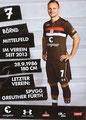Bernd Nehrig; Rückseite Autogrammkarte: Saison 2018/19 (2. Bundesliga)