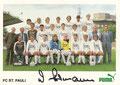 Mannschaftskarte mit Orginalunterschrift: puma Werbekarte; Saison: 1985/86; Ligazugehörigkeit: 2. Bundesliga
