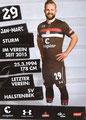 Jan-Marc Schneider; Rückseite Autogrammkarte: Saison 2018/19 (2. Bundesliga)