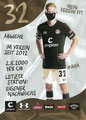 Jannes Wieckhoff; Rückseite Autogrammkarte: Saison 2020/21 (2. Bundesliga) Variante 2: Rückseite: Schriftzug oben rechts: Mein Verein 111