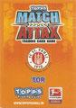 Rückseite einer Trading Card dieser Serie: Variante Tor; Match Attax Traiding Card Game 2010/2011; Topps
