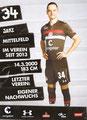 Jakob Münzner; Rückseite Autogrammkarte: Saison 2018/19 (2. Bundesliga)