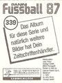 Sticker 339: Rückseite Sticker; Fußball 87; Panini Bilderdienst, Tütenbilder, Planegg