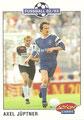 Trading Card 218: Axel Jüptner (Bayer 05 Uerdingen); Fußball 92/93 Action Cards; Panini Bilderdienst, Unterschleißheim; Anmerkung: Im Hintergrund des Bildes ist Bernd Hollerbach (FC St. Pauli) zu sehen.