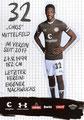 Christian Conteh; Rückseite Autogrammkarte: Saison 2019/20 (2. Bundesliga)