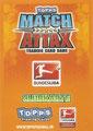 Rückseite einer Trading Card dieser Serie: Variante Clubkarte: Match Attax Traiding Card Game 2010/2011; Topps