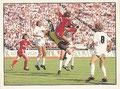 Sticker 361: Spielszene FC Bayern München - FC St. Pauli, Im Strafraum geht's hoch her; Fußball 90; Panini Bilderdienst, Unterschleißheim
