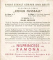 Sammelbild A Gau Nr. 7 Nordmark, Spieler Nr. 2: Karl Miller; König Fussball; Rückseite Sammelbild: Union Zigarettenfabrik, Dresden