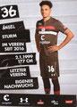 Luis Coordes; Rückseite Autogrammkarte: Saison 2018/19 (2. Bundesliga)