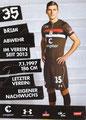 Brian Koglin; Rückseite Autogrammkarte: Saison 2018/19 (2. Bundesliga)