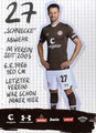 Jan-Philipp Kalla; Rückseite Autogrammkarte: Saison 2019/20 (2. Bundesliga)