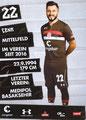 Cenk Sahin; Rückseite Autogrammkarte: Saison 2018/19 (2. Bundesliga)