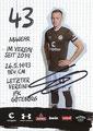 Sebastian Ohlsson; Rückseite Autogrammkarte: Saison 2019/20 (2. Bundesliga)