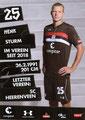 Henk Veerrman; Rückseite Autogrammkarte: Saison 2018/19 (2. Bundesliga)