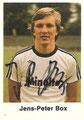 Sammelbild 99 mit Originalunterschrift: Jens-Peter Box; Fußball 77/78 - die neue Bundesliga (grünes Album); Bergmann Tütenbilder, Dortmund, Unna, Freiburg/Schweiz