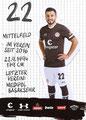 Cenk Sahin; Rückseite Autogrammkarte: Saison 2019/20 (2. Bundesliga)