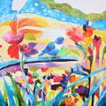 """""""鳥がみている空""""   acrylic on canvas 100×100cm,2011"""