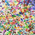 """""""サギがみていた空""""  acrylic on canvas 53.0×53.0cm,2014"""