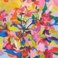 """""""花瓶の花""""   acrylic on canvas 45.5×45.5cm,2010"""
