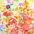 """""""鳥がいる森""""   acrylic on canvas 100×100cm,2009"""
