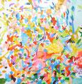 """""""多重露光""""  acrylic on canvas 116.7×116.7cm,2009"""