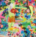 """""""水たまりから見えた空""""  acrylic on canvas 100×100cm,2008"""