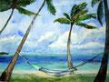 Strand von Barbados 40x50cm,(c)D.Saul 2011,Palmenstrand-Hängematte