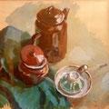 Stillleben mit Teekanne, Gouache auf Papier, 50x50