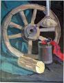 Stillleben mit Holzrad, Gouache auf Papier, 44x57