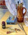 Stillleben mit Pinsel und Farben, Gouache auf Papier, 38x48