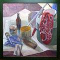Stillleben mit Malerwerkzeug, Gouache auf Papier, 44x57