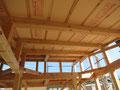 屋根裏の断熱材敷込み