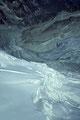 Tiefblick auf Mountetgletscher mit Eisbruch