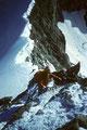 Bergführer Pius Schnidrig mit Seilkameraden beim Abstieg über den Ostnordostgrat