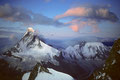 Matterhorn 4478 m und Dent d´Herens 4171 m im Morgenlicht
