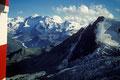 Blick aus dem Hüttenfenster zum Zermatter Breithorn 4165 m