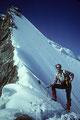 Seilschaft in der 55° steilen Nordwand des Obergabelhorns