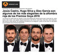 Hugo SIlva de PACO VARELA entre los más elegantes de la alfombra roja de los Premios  2016. Antena3.com