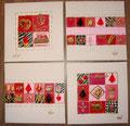 Lignes et carrés roses 4x30x30