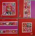 Lignes et carrés fushia rouge 4x30x30 or